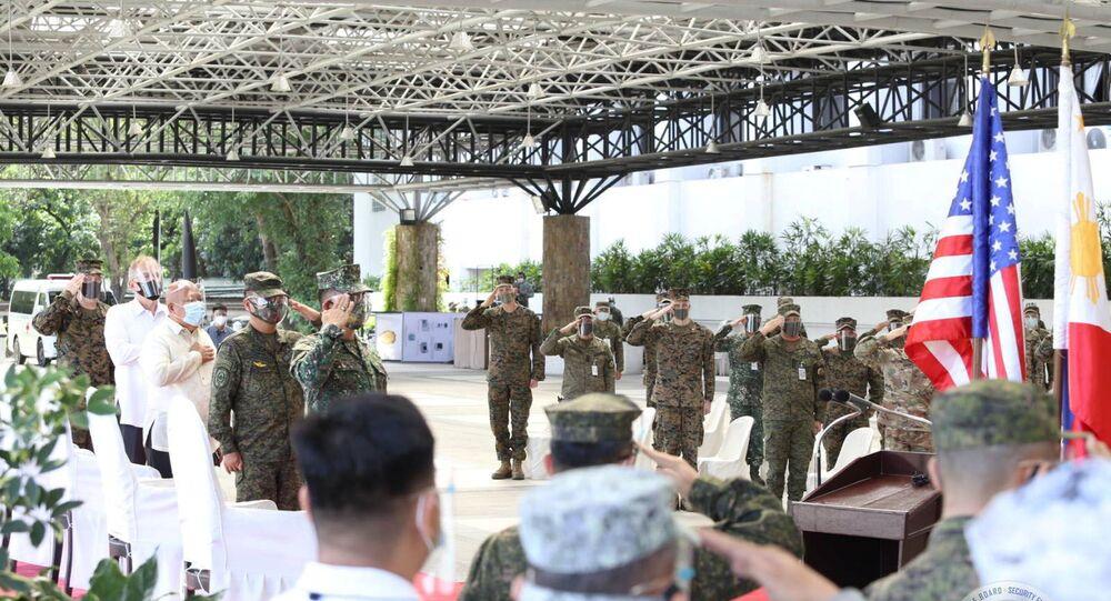 Forças Armadas das Filipinas e o Exército dos Estados Unidos inauguraram o 36º exercício Balikatan (BK36-21) conjunto, Filipinas, 12 de abril de 2021