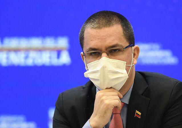 O ministro das Relações Exteriores da Venezuela, Jorge Arreaza, durante coletiva de imprensa no palácio Miraflores, em Caracas