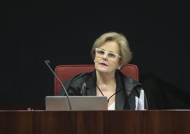 A ministra Rosa Weber durante sessão da 1ª turma do STF, no dia 1º de março de 2016