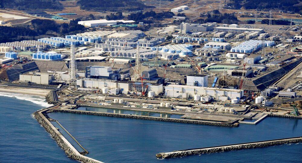 Vista aérea da usina nuclear danificada de Fukushima, na cidade de Okuma, Japão, 13 de fevereiro de 2021
