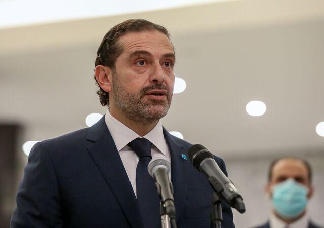 O primeiro ministro indicado Saad Hariri fala depois de se encontrar com o presidente do Líbano, Michel Aoun, no palácio presidencial em Baabda, Líbano, em 22 de março de 2021