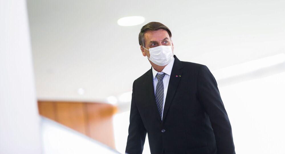 O presidente Jair Bolsonaro, no Palácio do Planalto, em Brasília, no dia 8 de abril de 2021
