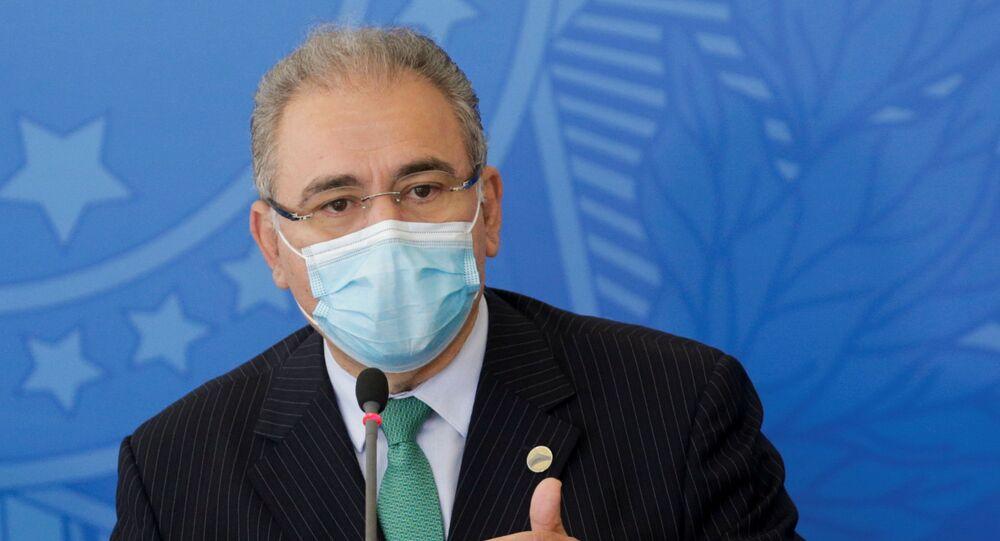 O ministro da Saúde, Marcelo Queiroga, durante coletiva de imprensa.