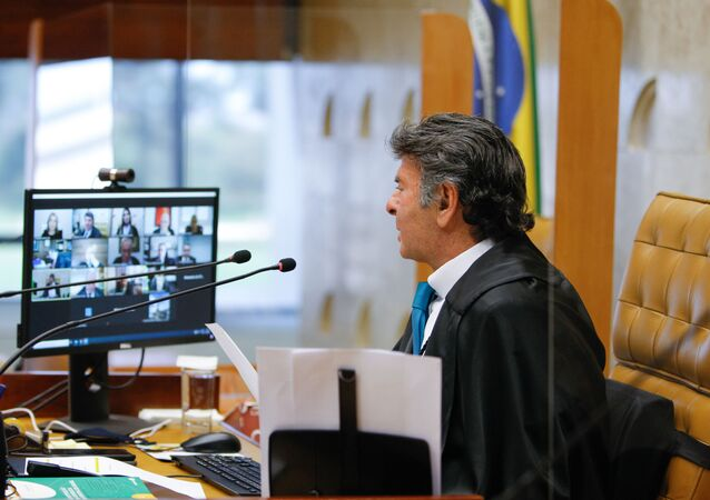 O ministro Luiz Fux durante sessão do plenário virtual do Supremo Tribunal Federal.