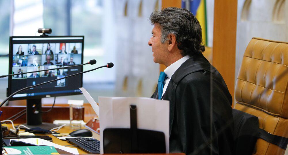 O ministro Luiz Fux durante sessão do plenário virtual do Supremo Tribunal Federal.