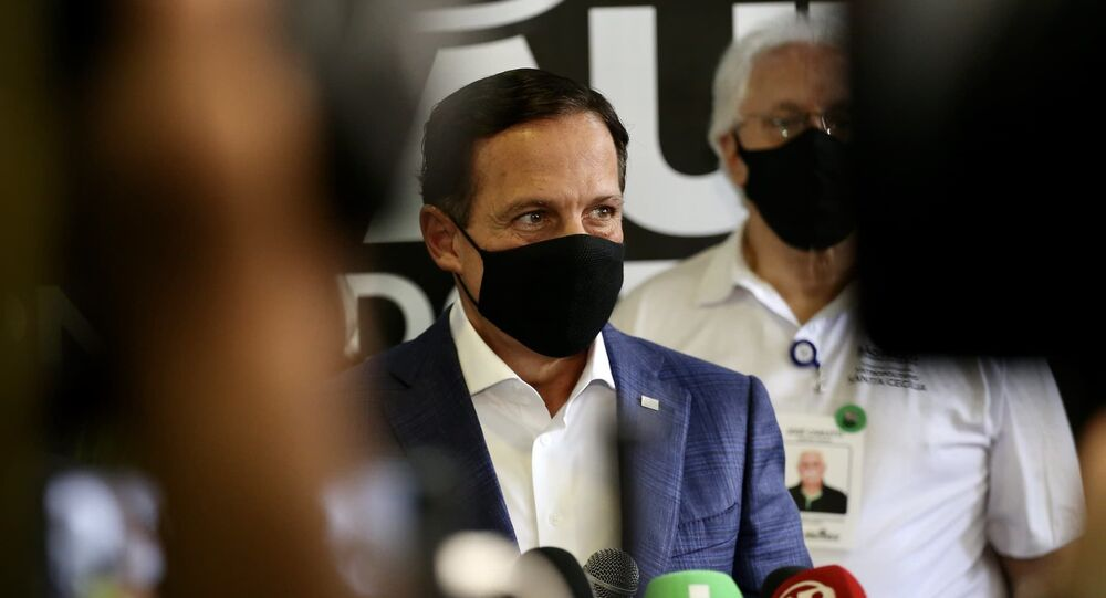 O governador João Doria, no dia 13 de abril de 2021, durante a inauguração do Hospital de Campanha Santa Cecília, no centro da capital, dedicado exclusivamente a casos graves de COVID-19