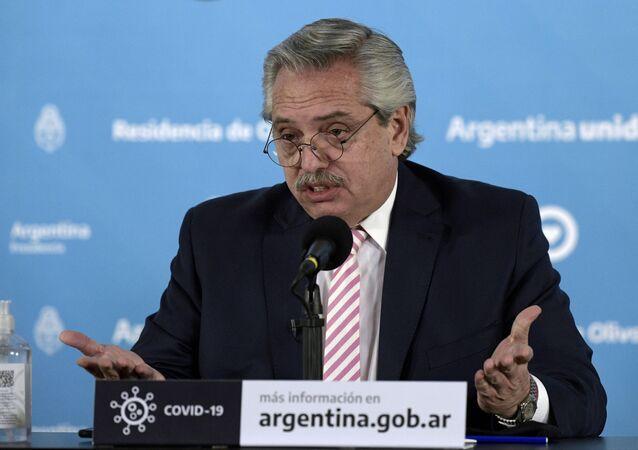 Presidente da Argentina, Alberto Fernández, em Buenos Aires, no dia 12 de agosto de 2020