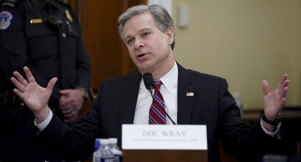 Diretor do FBI, Christopher Wray, fala durante uma audiência no Congresso dos EUA