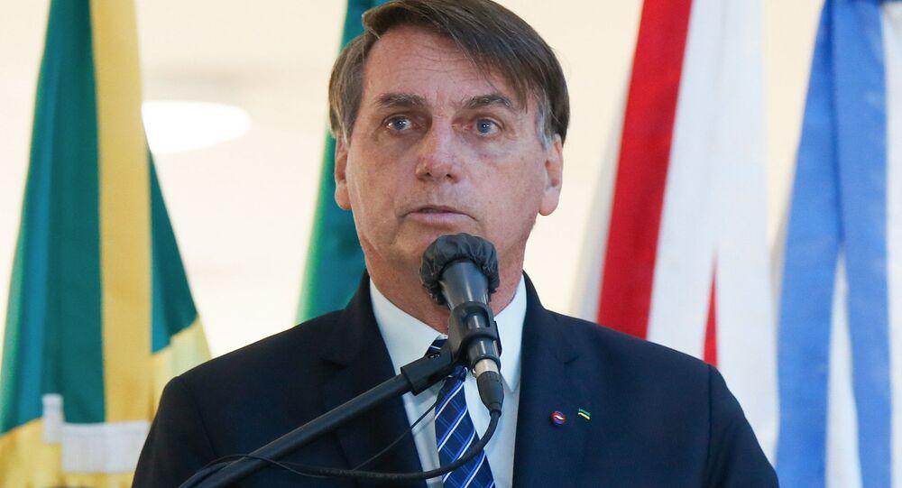 O presidente do Brasil, Jair Bolsonaro, durante pronunciamento.