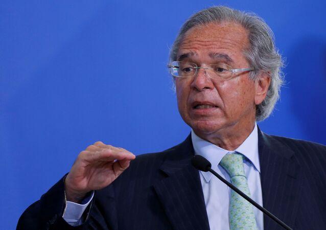 Ministro da Economia, Paulo Guedes, no Palácio do Planalto, em Brasília, no Brasil, em 19 de agosto de 2020