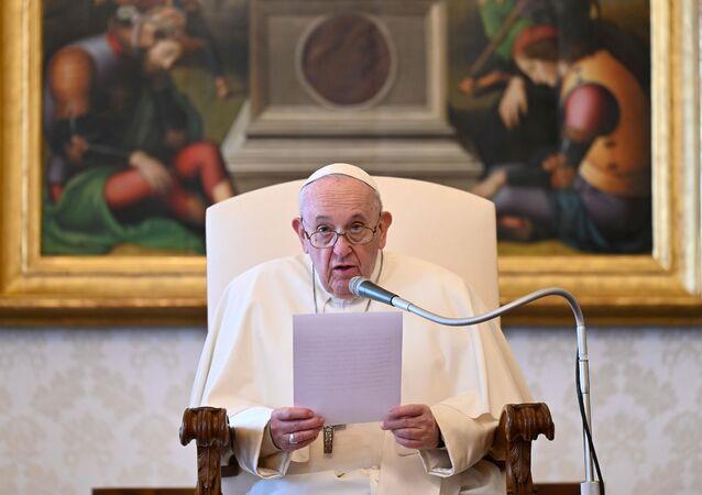 Papa Francisco durante audiência no Vaticano, no dia 7 de abril de 2021