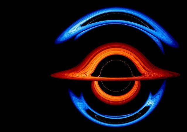 Representação artística de buracos negros binares
