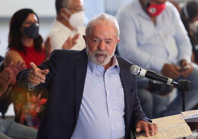 O ex-presidente Lula em entrevista coletiva em São Bernardo do Campo, no dia 10 de março de 2021
