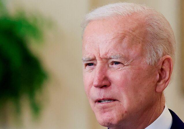 O presidente Joe Biden, na sala leste da Casa Branca, em Washington, EUA, em 15 de abril de 2021