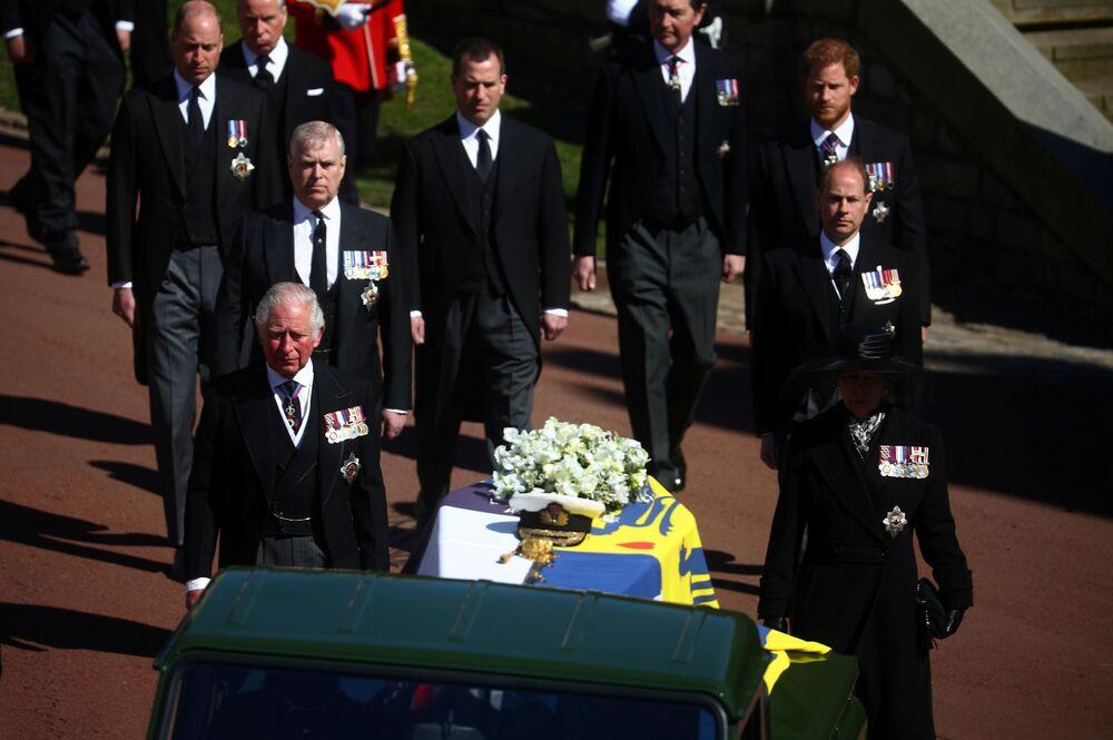 Membros da família real no funeral do Príncipe Philip