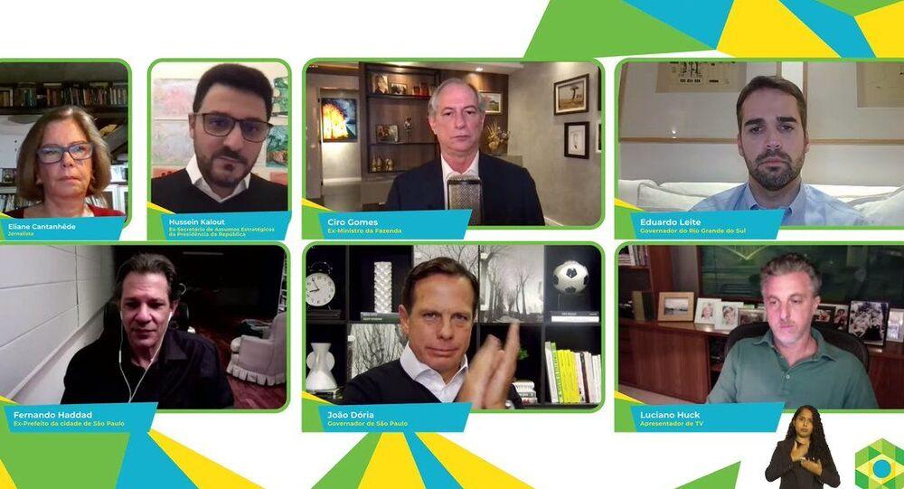 Ciro Gomes (PDT), Eduardo Leite (PSDB), Fernando Haddad (PT), João Doria (PSDB) e Luciano Huck (sem partido) em debate digital, em 17 de abril de 2021