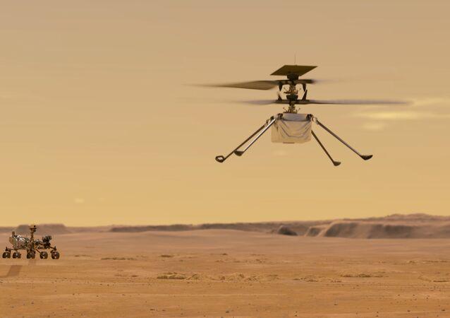 Representação gráfica do helicóptero Ingenuity da NASA