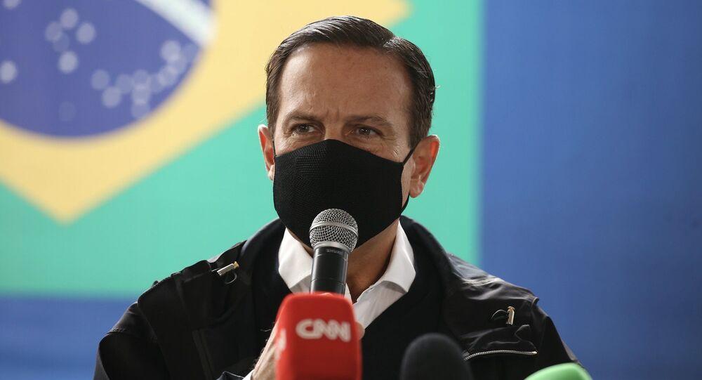 O governador de São Paulo, João Doria, durante entrevista coletiva.