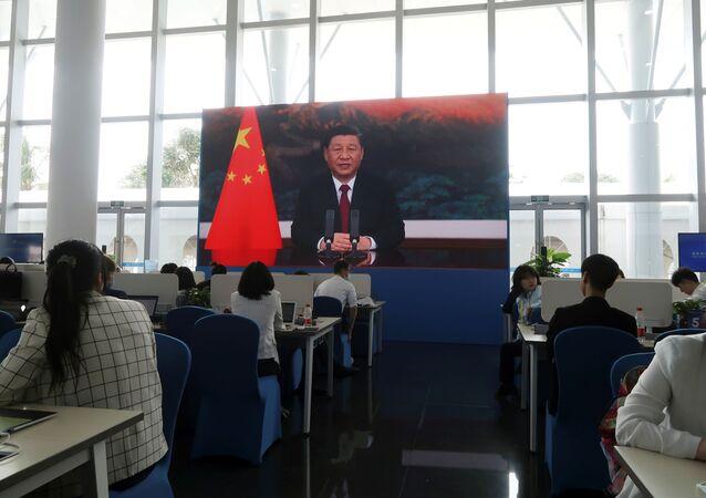 Presidente da China, Xi Jinping, discursa durante o Fórum de Boao para a Ásia, em Hainan, China, 20 de abril de 2021