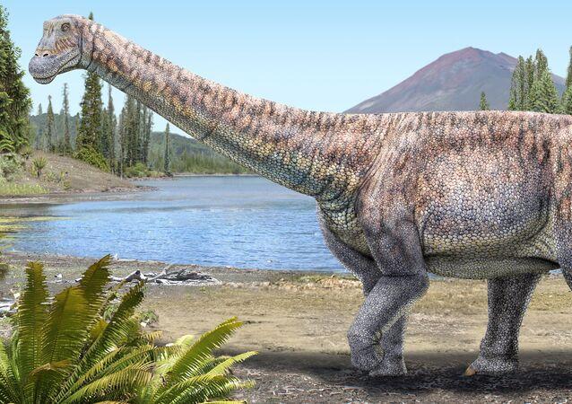 Impressão artística de um dinossauro herbívoro descoberto no deserto de Atacama, no Chile