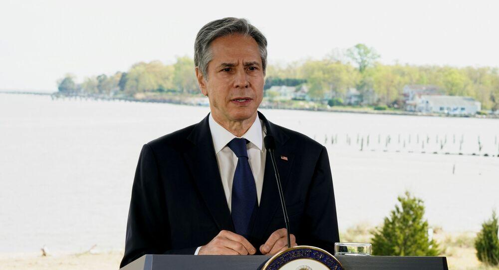 O secretário de Estado dos EUA, Antony Blinken, fala sobre mudanças climáticas na Chesapeake Bay Foundation em Annapolis, Maryland, EUA, 19 de abril de 2021