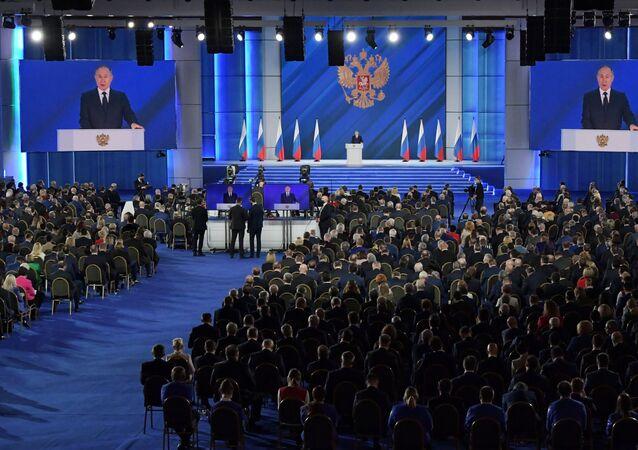 Participantes do discurso anual do presidente da Rússia, Vladimir Putin, perante a Assembleia Federal, 21 de abril de 2021