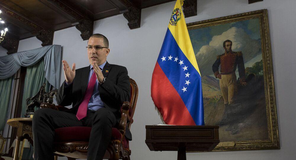 Jorge Arreaza, ministro das Relações Exteriores da Venezuela, fala durante entrevista para agência AFP em Caracas, 7 de abril de 2021