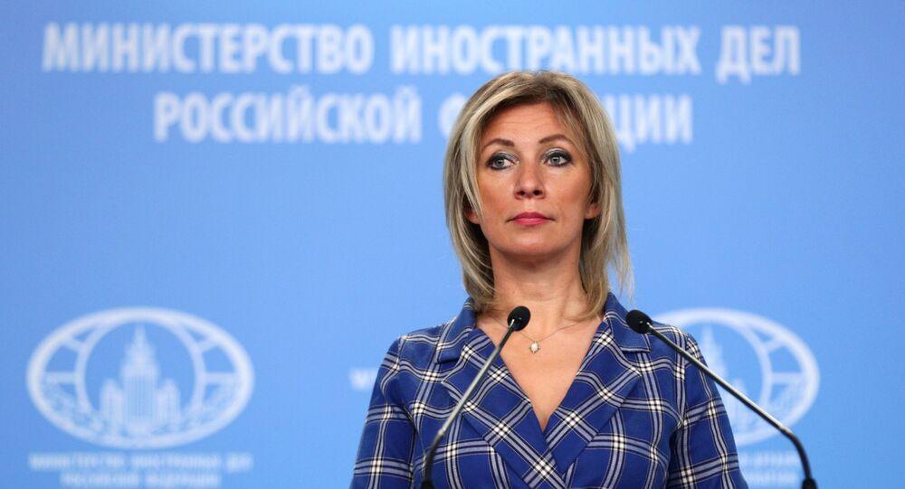 A porta-voz do Ministério das Relações Exteriores da Rússia, Maria Zakharova, participa de seu briefing semanal em Moscou, Rússia.