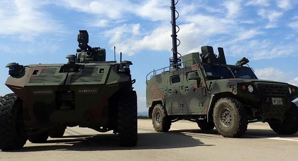 Esta foto fornecida pela Administração do Programa de Aquisição de Defesa no dia 22 de abril de 2021, mostra o veículo de vigilância robótico que está sendo desenvolvido e que deve ser implantado em 2027