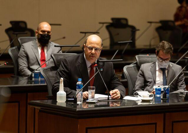 Governador afastado do Rio de Janeiro, Wilson Witzel, em oitiva no dia 7 de abril de 2021