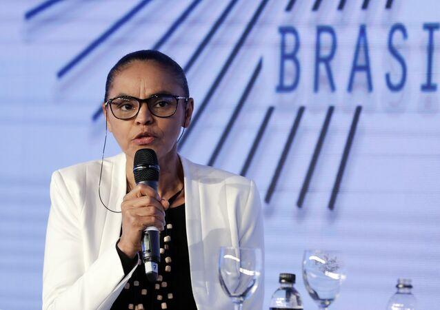 Marina Silva, ex-ministra do Meio Ambiente do Brasil, durante participação em seminário de tecnologia e inclusão digital realizado em São Paulo, SP, em 7 de agosto de 2018