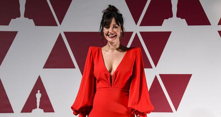 Laura Allen chega a uma exibição do Oscar na segunda-feira, 26 de abril de 2021, em Londres