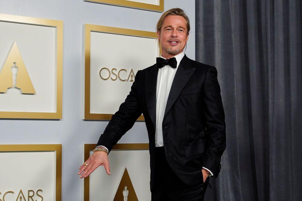 Ator norte-americano Brad Pitt na 93ª cerimônia de premiação do Oscar em Los Angeles