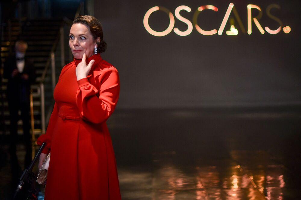 Atriz Olivia Colman na 93ª cerimônia de premiação do Oscar em Los Angeles