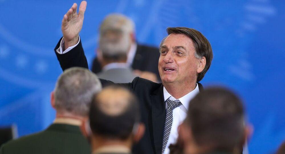 Presidente da República, Jair Bolsonaro, participa da cerimônia no Palácio do Planalto, em Brasília, no dia 8 de abril de 2021
