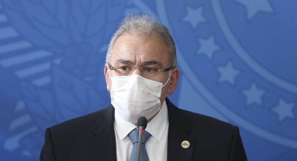 O ministro da Saúde, Marcelo Queiroga, durante conversa com a imprensa, em Brasília, no dia 24 de março de 2021