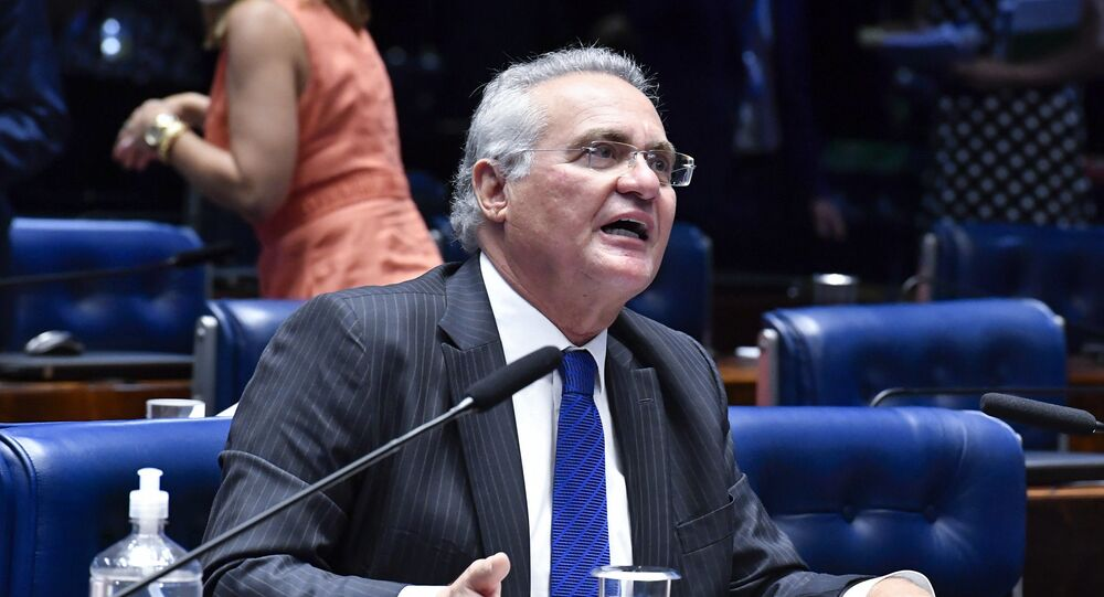 O senador Renan Calheiros (MDB-AL) durante sessão do plenário do Senado Federal.
