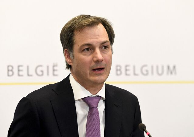 Primeiro-ministro da Bélgica, Alexander De Croo, durante coletiva de imprensa em Bruxelas, no dia 14 de abril de 2021