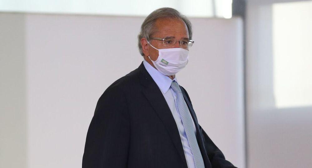Ministro da Economia, Paulo Guedes, no dia 25 de fevereiro de 2021