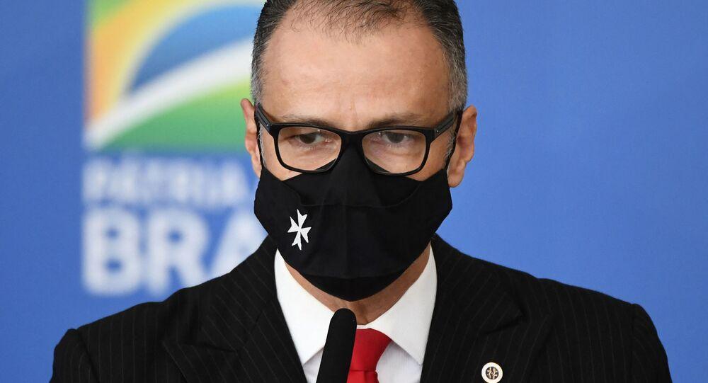 Antonio Barra Torres, presidente da Agência Nacional de Vigilância Sanitária (Anvisa), durante pronunciamento.