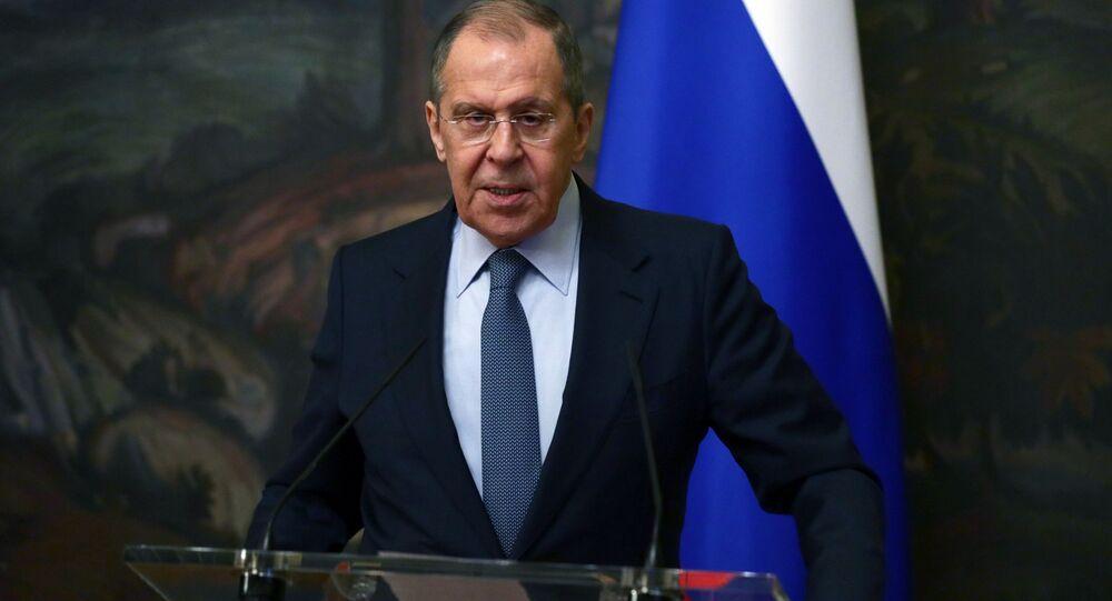 Ministro das Relações Exteriores da Rússia, Sergei Lavrov durante coletiva de imprensa conjunta com seu homólogo de Honduras Lisandro Rosales Banegas