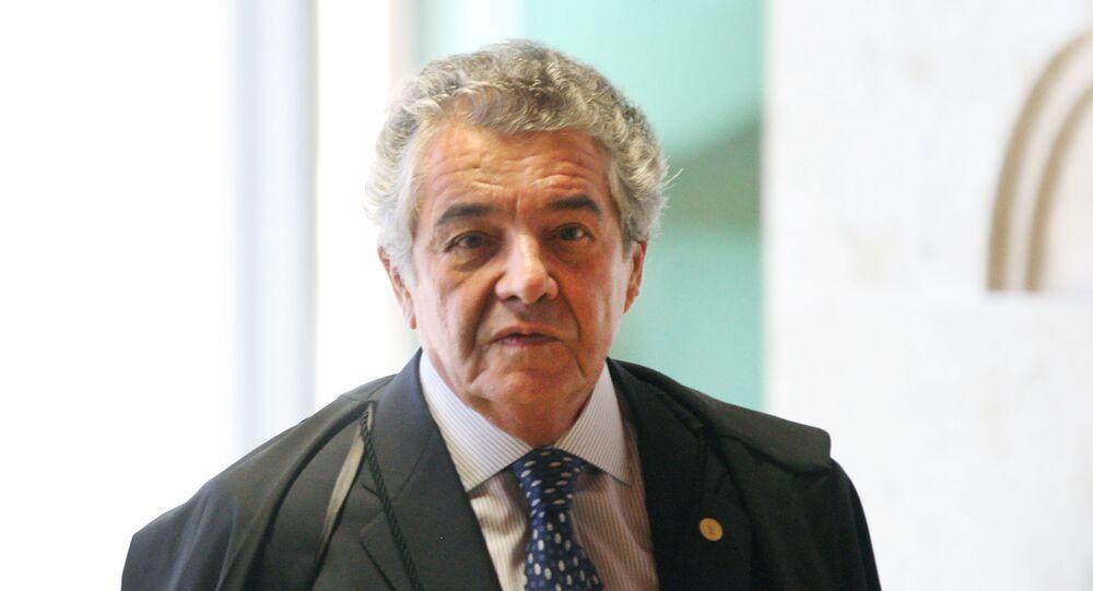 Ministro Marco Aurélio durante sessão de encerramento do ano forense do STF em 2018