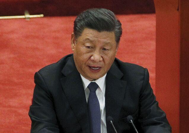 O presidente chinês, Xi Jinping, durante discurso em 23 de outubro de 2020