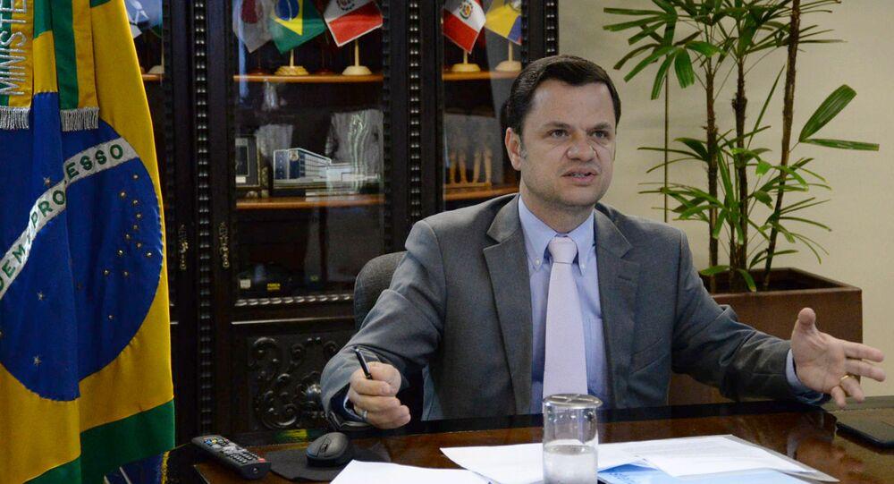 O ministro da Justiça, Anderson Torres, durante a abertura virtual do Fórum Nacional sobre Violência Institucional e Ideológica contra Crianças e Adolescentes, em 27 de abril de 2021