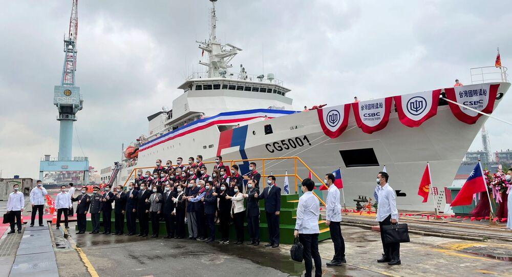 Navio da Guarda Costeira de Taiwan é comissionado na cidade de Kaohsiung, 29 de abril de 2021