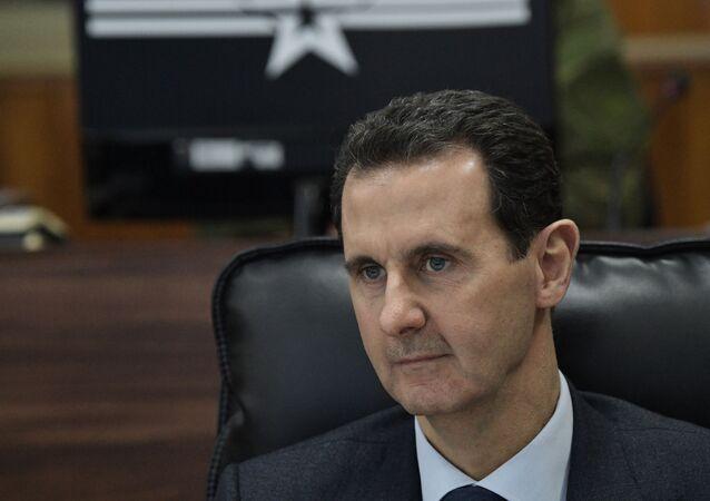Em Damasco, o presidente da Síria, Bashar Assad, participa de um encontro com o presidente da Rússia, Vladimir Putin, em 7 de janeiro de 2020