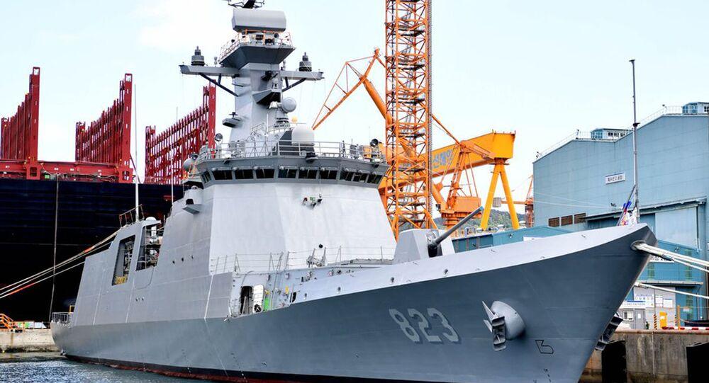 Nova fragata, Daejeon, em registro feito pela Marinha da Coreia do Sul