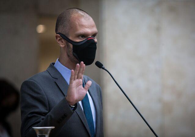 Posse do prefeito eleito de São Paulo, Bruno Covas (PSDB), em 1º de janeiro de 2020.
