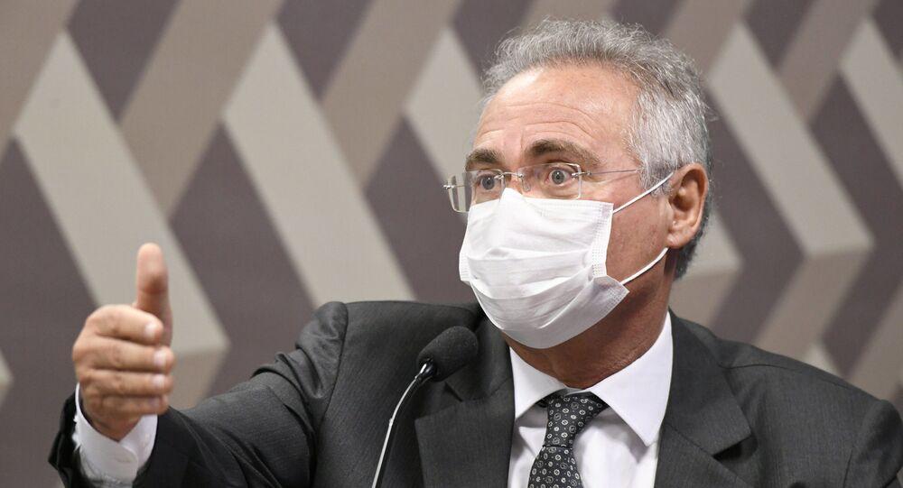 Comissão Parlamentar de Inquérito (CPI) da Covid realiza oitiva do ex-ministro da Saúde Luiz Henrique Mandetta. Na foto, o senador e relator da CPI Renan Calheiros (MDB-AL)