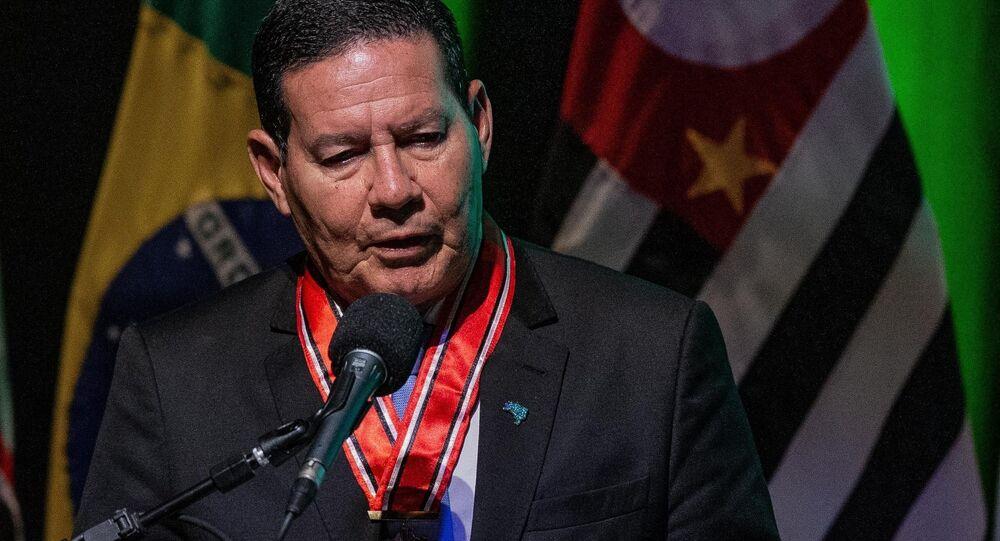 O vice-presidente da República, Hamilton Mourão, durante evento em São Paulo.